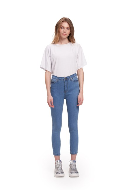 Mizalle - Tencel Likralı Dar Paça Pantolon (Mavi)