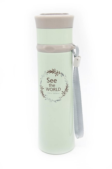 Mizalle Home - Text Detailed Thermos (Green) (1)