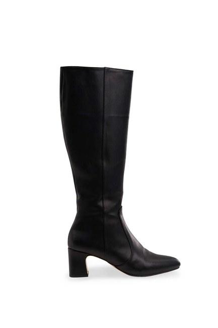 MIZALLE - حذاء طويل بكعب سميك (أسود) (1)