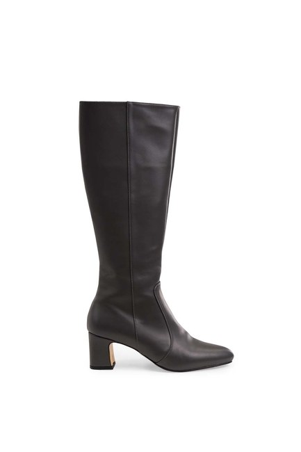 MIZALLE - Thick Heeled Long Boots (Grey) (1)