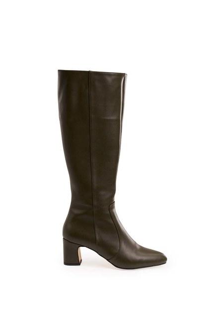 Mizalle - Thick Heeled Long Boots (Khaki) (1)