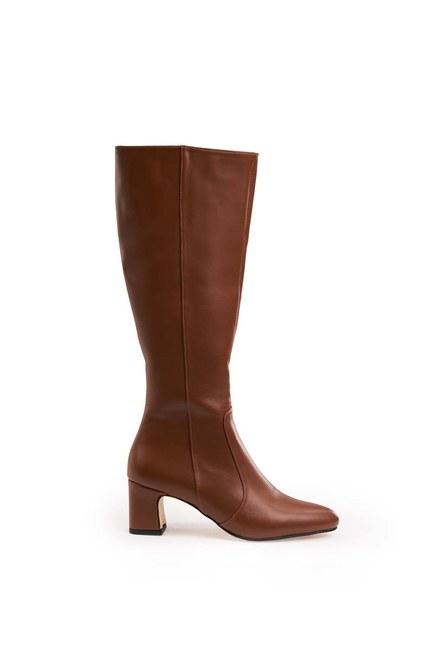 MIZALLE - حذاء طويل بكعب سميك (أسمر) (1)
