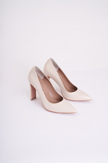 MIZALLE - Thick Heeled Stiletto (Beige) (1)