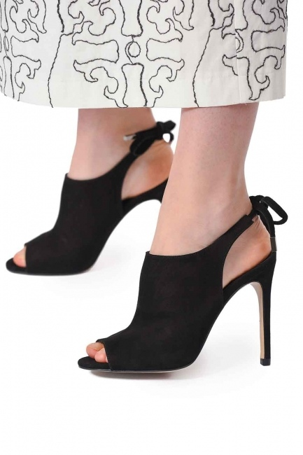 Thin Heel Suede Leather Shoes (Black) - Thumbnail