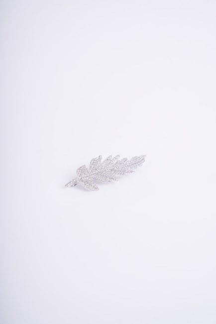 Mizalle - Thin Long Leaf Brooch (Grey) (1)