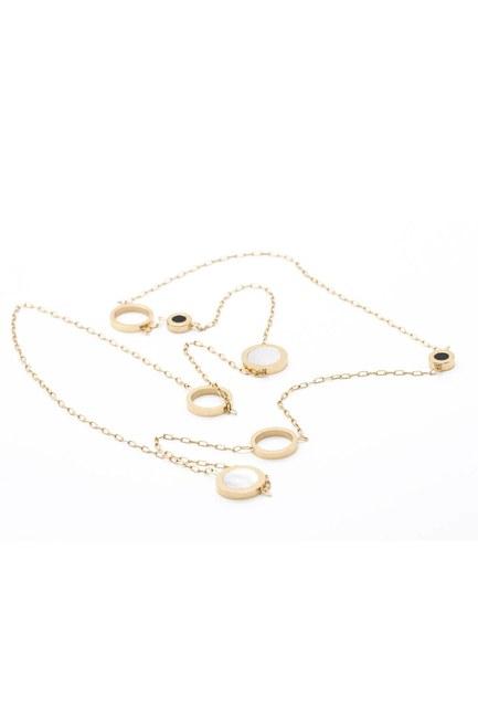 MIZALLE - Thin Steel Necklace (Yellow) (1)