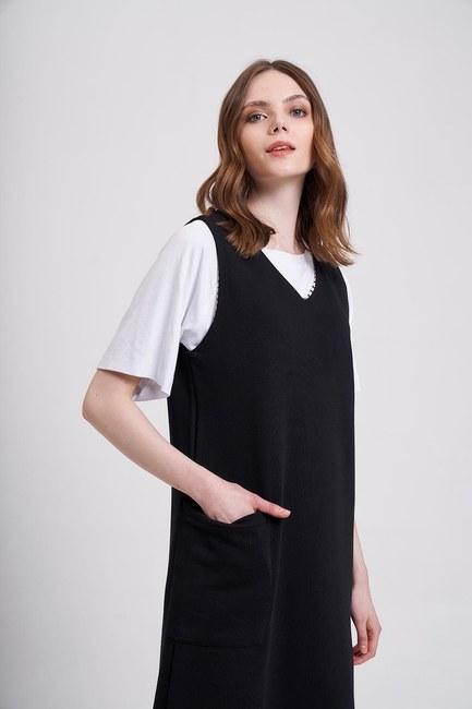 MIZALLE YOUTH - Three Yarn Gilet Dress (Black) (1)