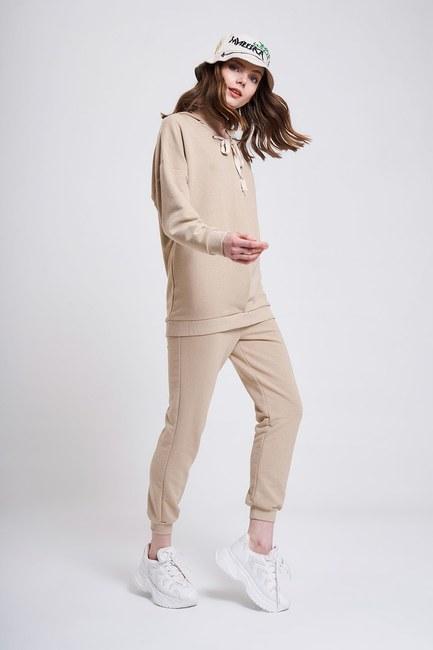 MIZALLE YOUTH - Three Yarn Lace Up Sweatshirt (Beige) (1)