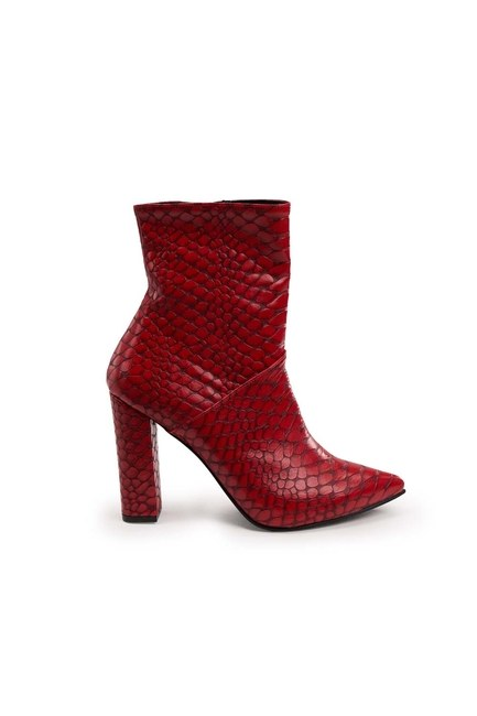 MIZALLE - Crocodile Pattern Boots (Red) (1)