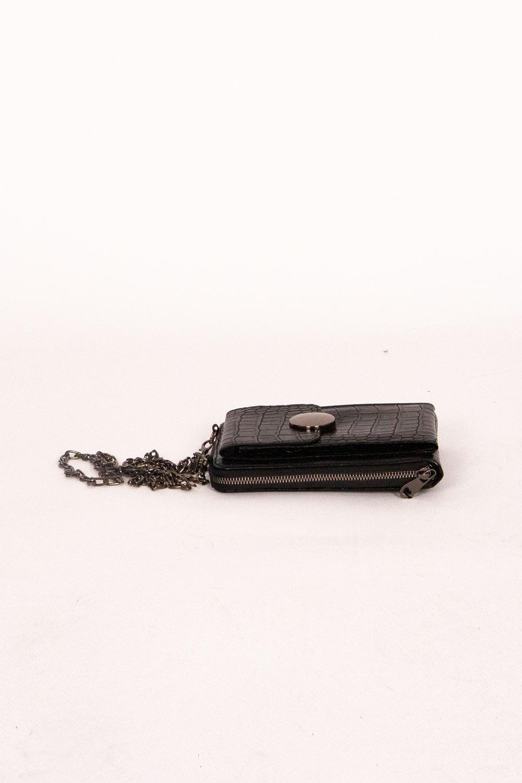 Tokalı Omuz Çantası (Kroko Siyah)