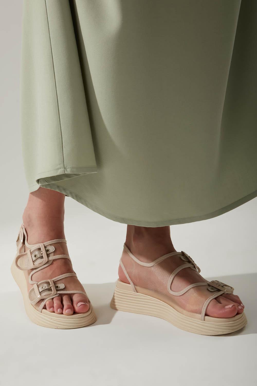 Tokalı Bej Spor Sandalet