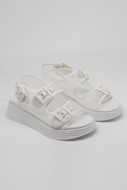Mizalle - Tokalı Beyaz Spor Sandalet