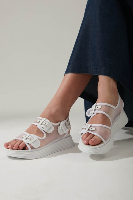 Tokalı Beyaz Spor Sandalet - Thumbnail