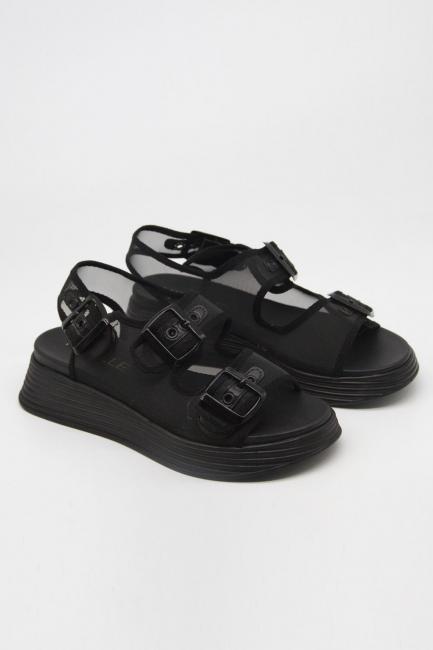 Mizalle - Tokalı Siyah Spor Sandalet