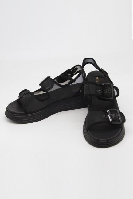 Tokalı Siyah Spor Sandalet - Thumbnail