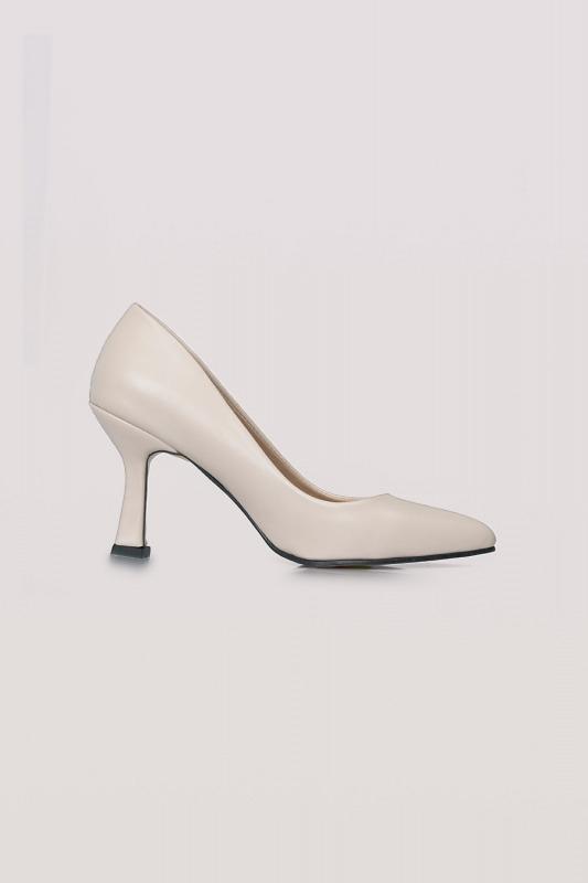 Topuklu Deri Ayakkabı (Ten Rengi)