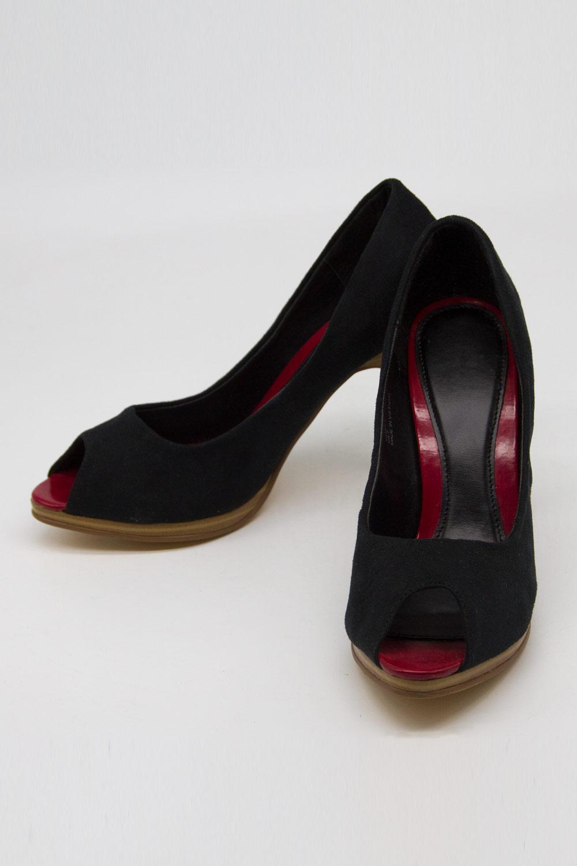 Topuklu Mikrosüet Ayakkabı (Siyah)