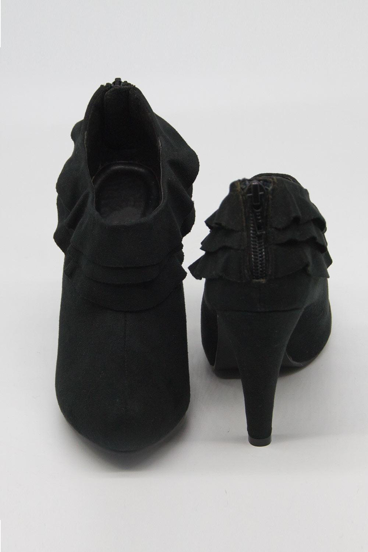 Topuklu Mikrosüet Bootie (Siyah)