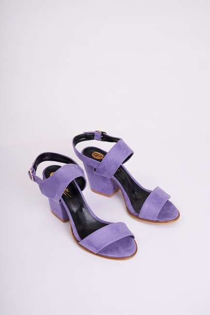 MIZALLE - Topuklu Nubuk Ayakkabı (Lila) (1)