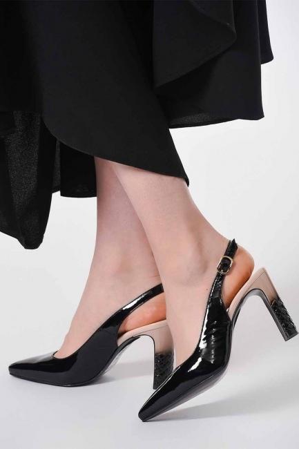 Topuklu Rugan Ayakkabı (Siyah/Pudra) - Thumbnail