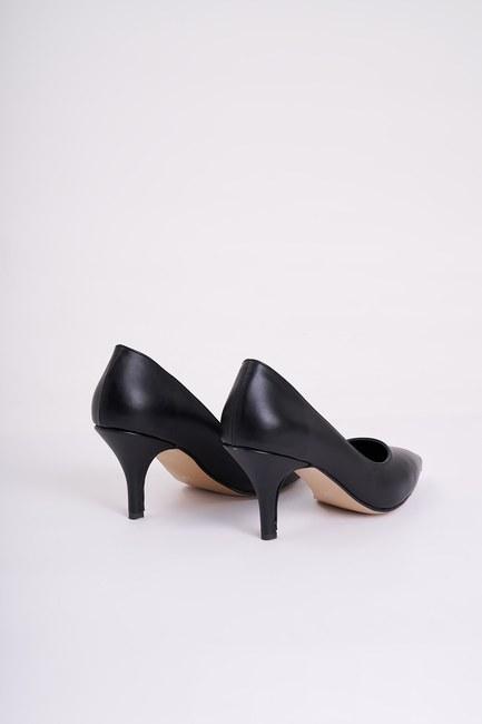 Topuklu Sivri Burun Ayakkabı (Siyah) - Thumbnail