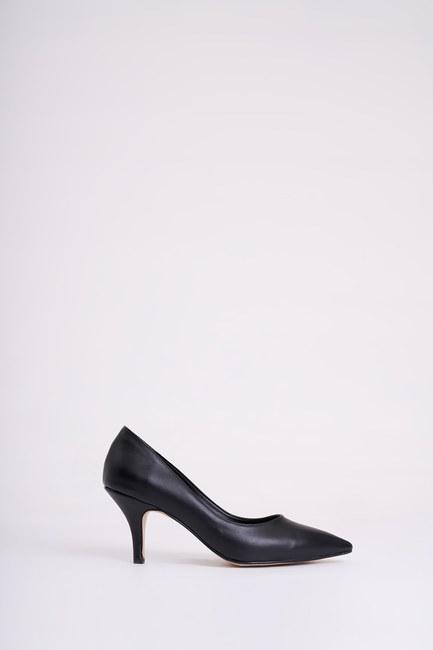 MIZALLE - Topuklu Sivri Burun Ayakkabı (Siyah) (1)