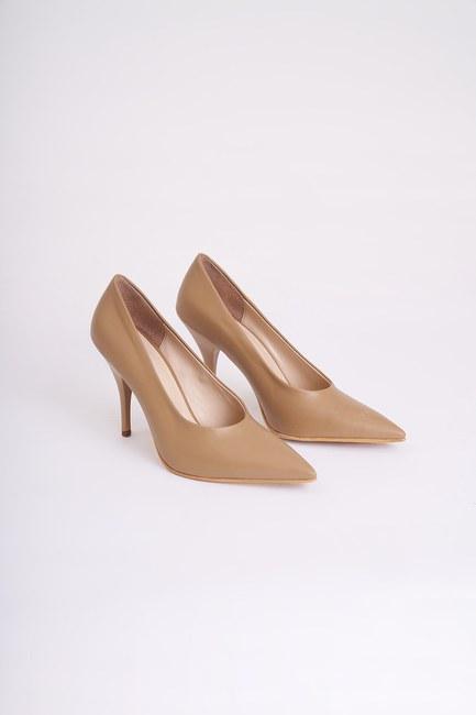 Mizalle - Topuklu Stiletto Ayakkabı (Vizon)