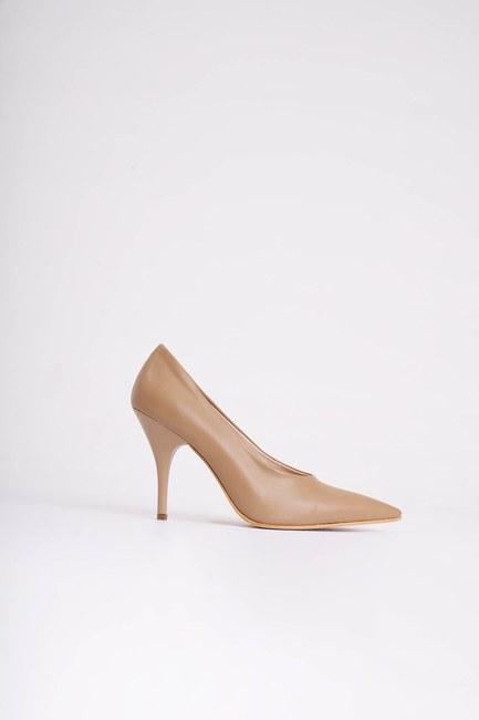 MIZALLE - Topuklu Stiletto Ayakkabı (Vizon) (1)