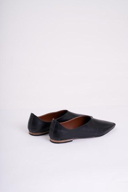 Topuksuz Sivri Burun Ayakkabı (Siyah) - Thumbnail