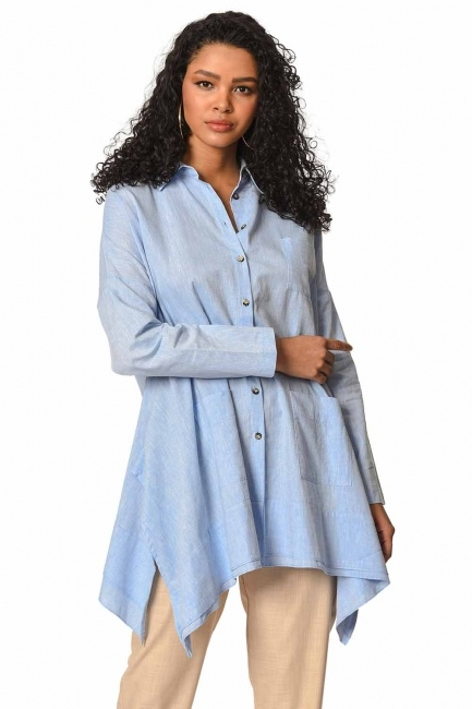 Tunic With Bag Pocket (Blue) - Thumbnail