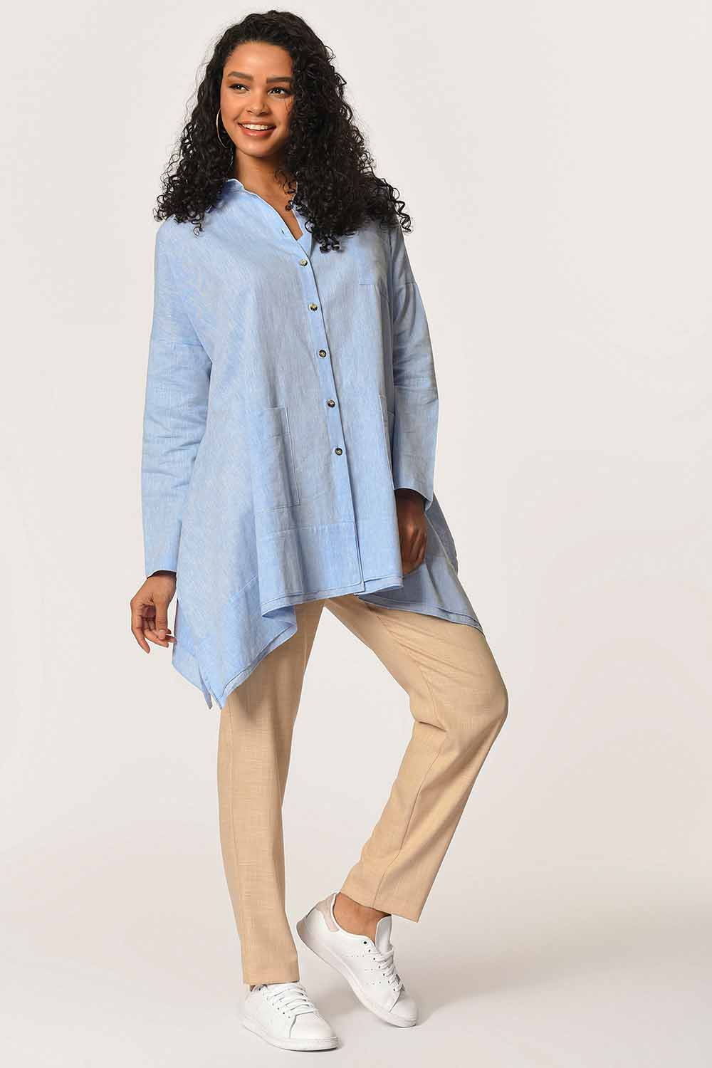 MIZALLE Tunic With Bag Pocket (Blue) (1)