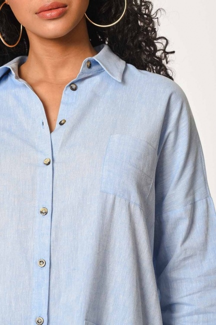 MIZALLE - Tunic With Bag Pocket (Blue) (1)