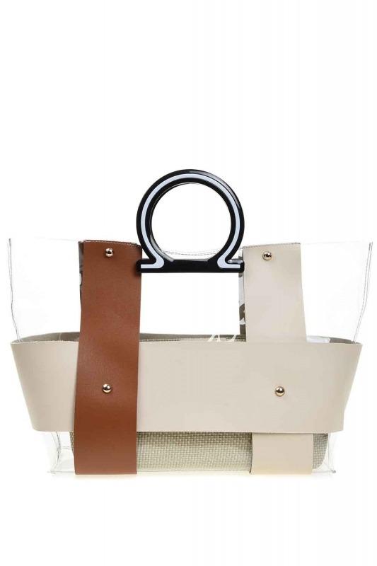 Transparent Hand Bag (Tan)