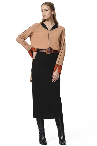Tricot Pencil Skirt (Black) - Thumbnail