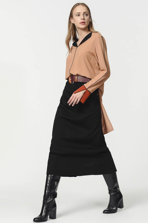 MIZALLE Tricot Pencil Skirt (Black) (1)