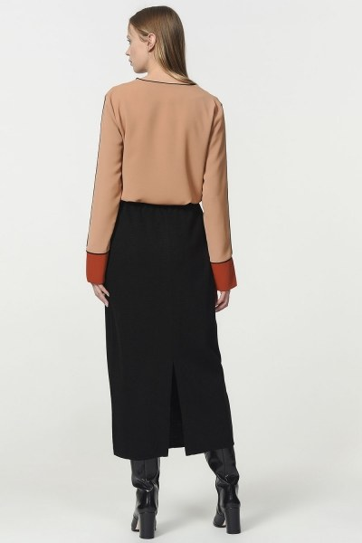 Tricot Pencil Skirt (Black) - Thumbnail
