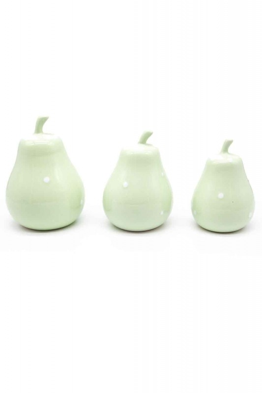 Triple Ceramic Pear Trinket (Green)