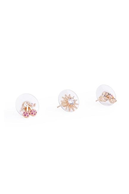 MIZALLE - Triple Small Earrings (Yellow) (1)