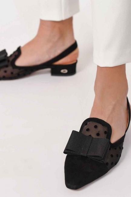 Tül Detaylı Süet Deri Ayakkabı (Siyah) - Thumbnail