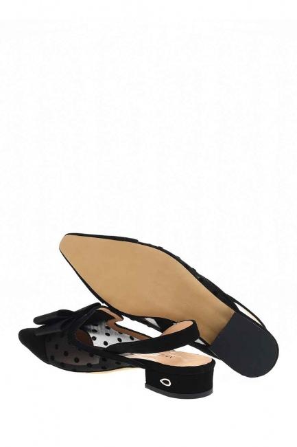 MIZALLE - Tül Detaylı Süet Deri Ayakkabı (Siyah) (1)