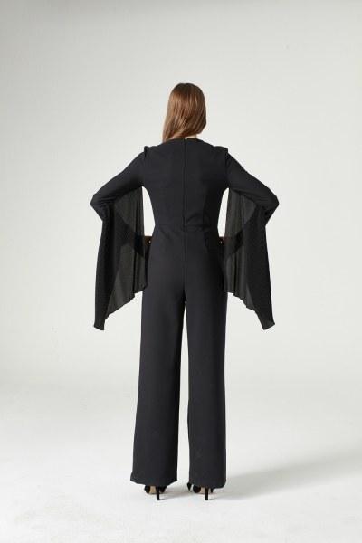 Pleat Sleeve Detailed Jumpsuit (Black) - Thumbnail