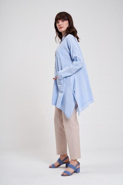 MIZALLE - قميص بجيب واسع من الاسفل (الأزرق) (1)