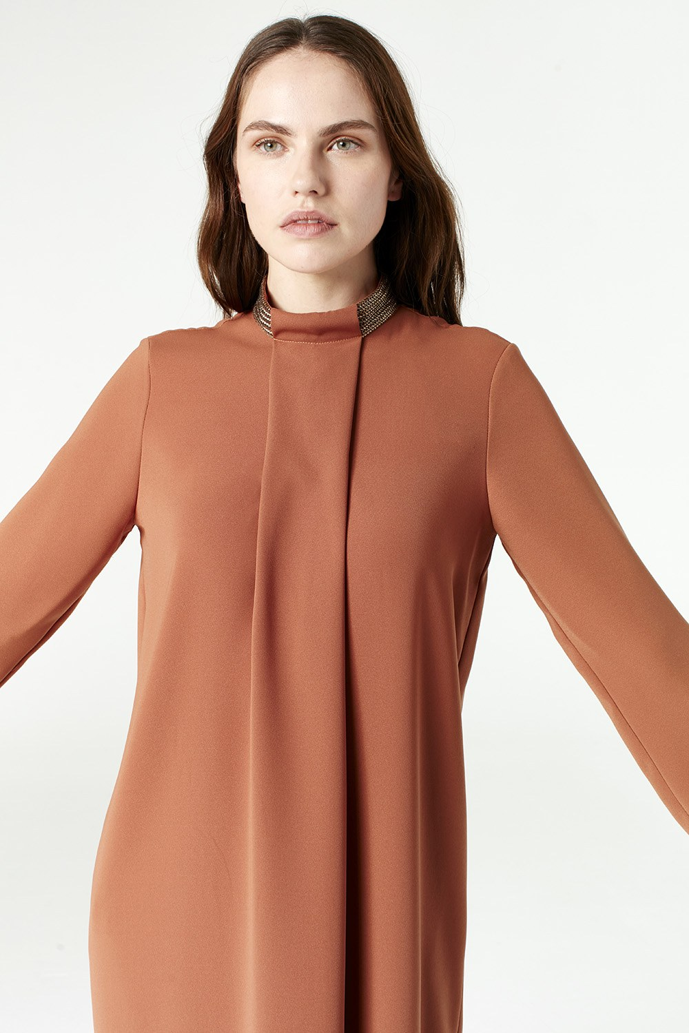 MIZALLE Tunic With Metallic Detailed Collar (Brick Color) (1)