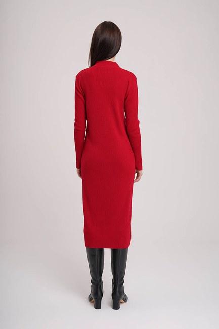 فستان كنزة بياقة دائرية (أحمر) - Thumbnail