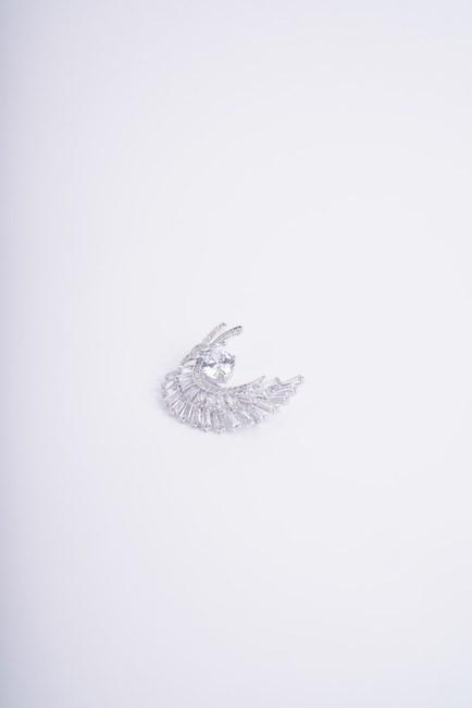 Tüy Detaylı Broş (Gri) - Thumbnail