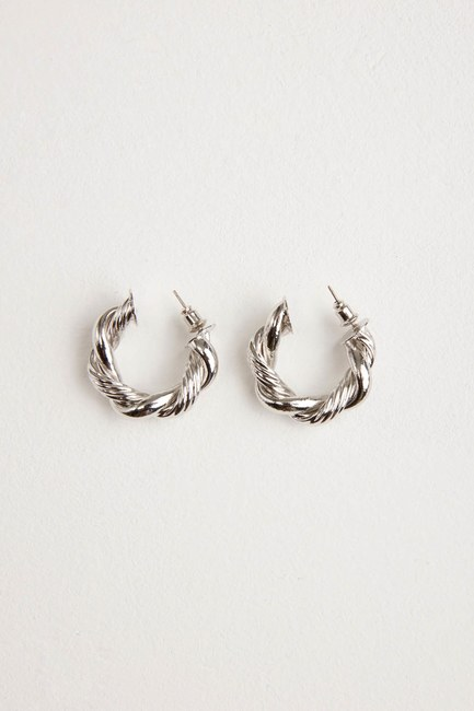 Twirl Ring Shaped Earrings (Grey) - Thumbnail