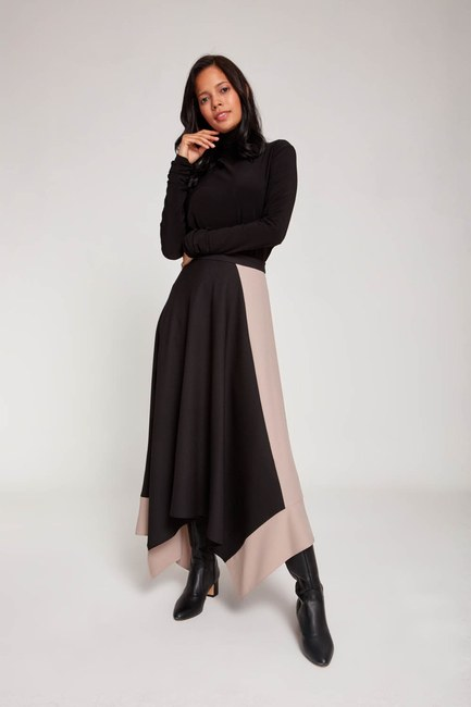 MIZALLE - Two Colored Crepe Skirt (Black) (1)