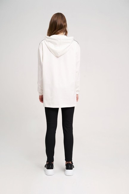 Two Striped Printed Sweatshirt (Ecru) - Thumbnail