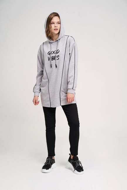 Two Striped Printed Sweatshirt (Melange) - Thumbnail