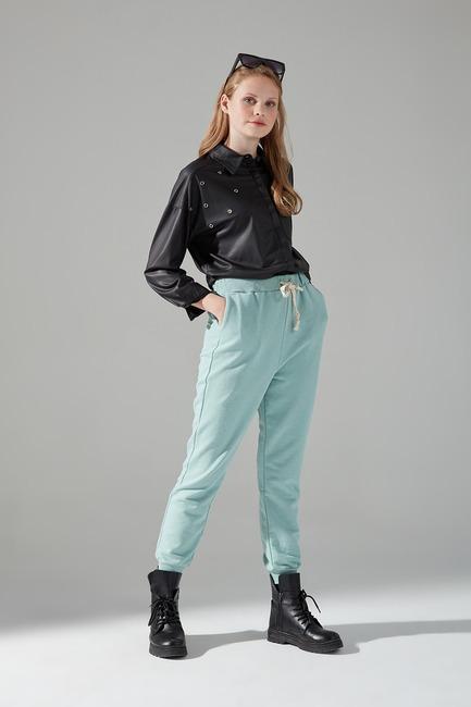 Mizalle - Üç İplik Bağcıklı Pantolon (Mint)